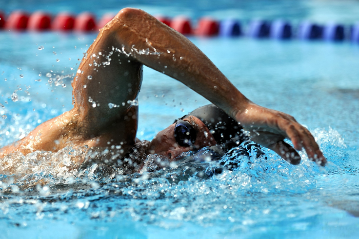 A swimmer doing a front crawl.